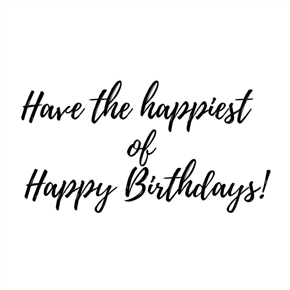Birthday card message in white background