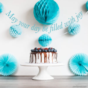 Blue decor Birthday cake