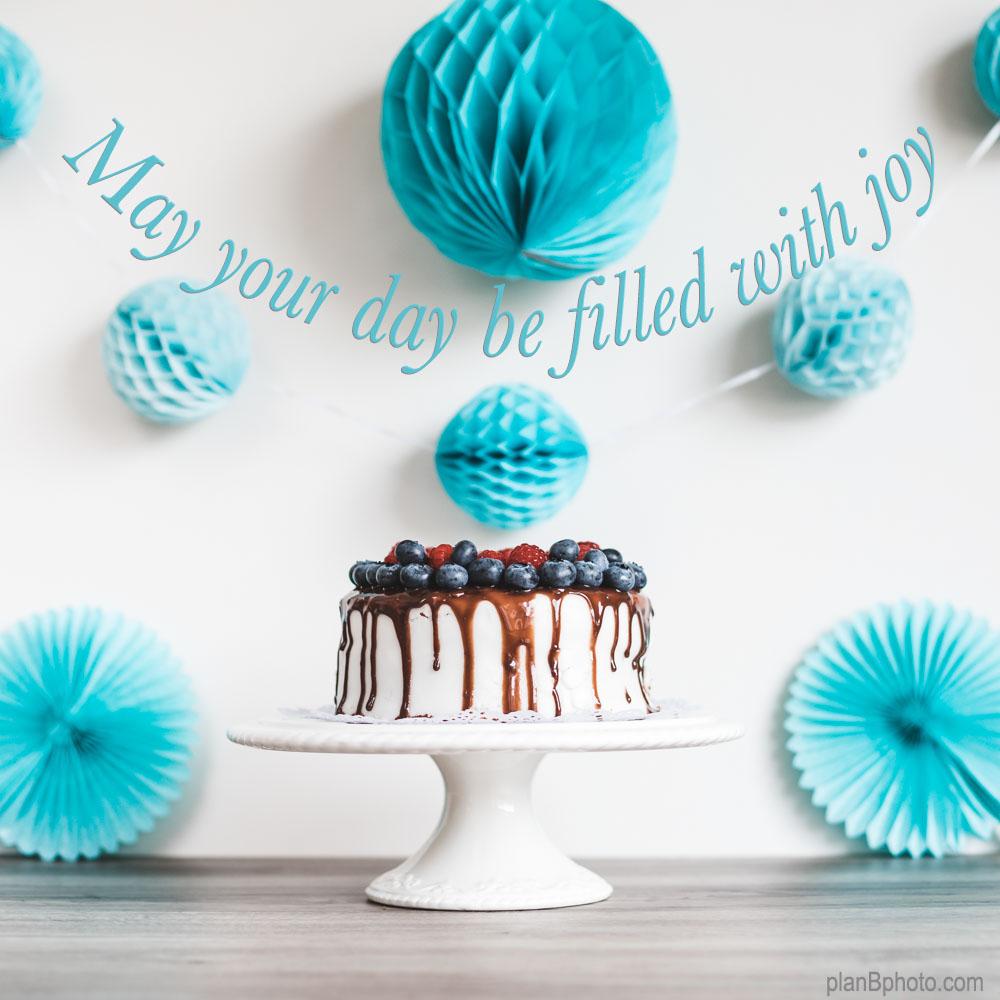Birthday cake with blue