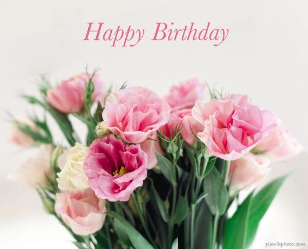 Happy Birthday pink Lisianthus flowers