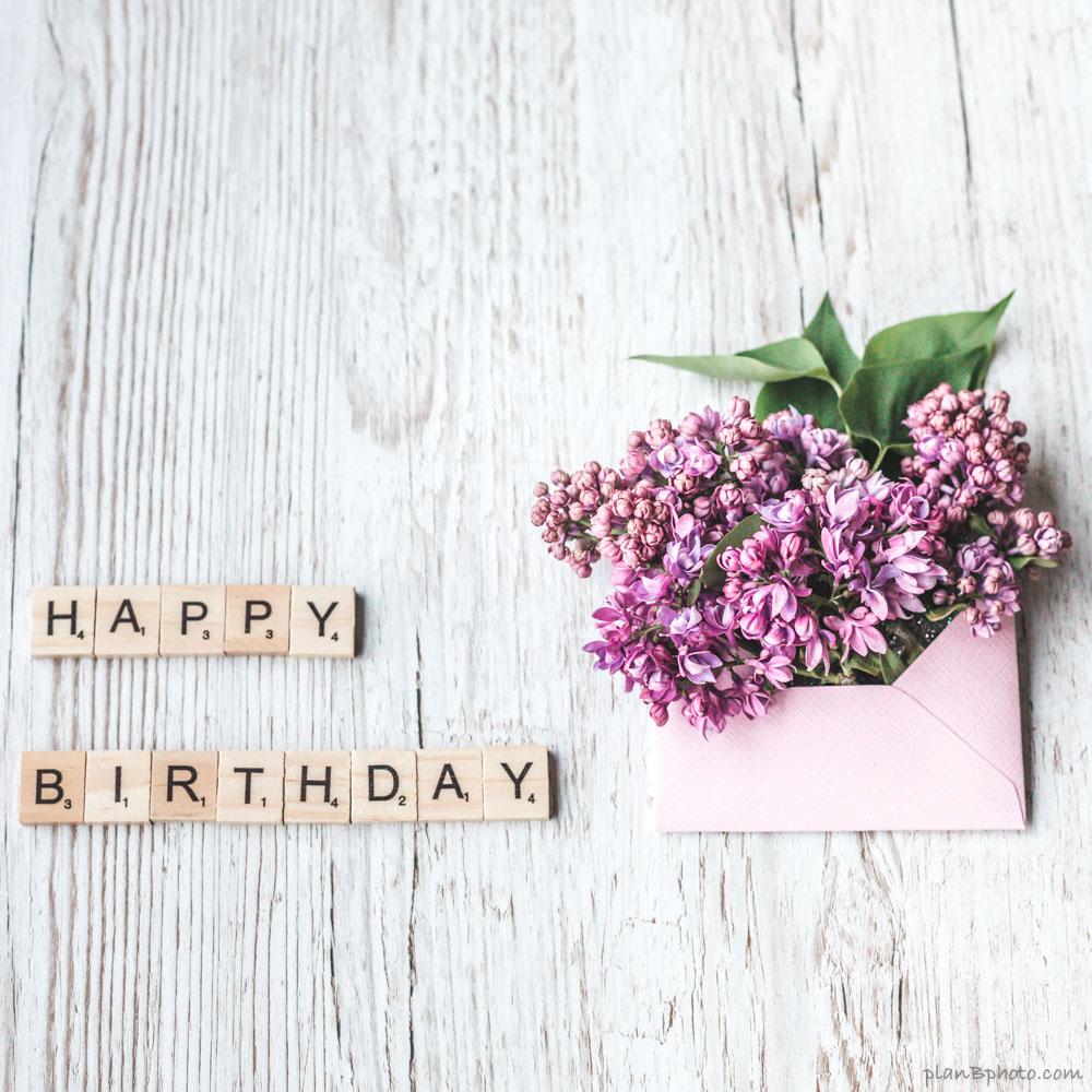 Lilac flowers happy birthday image