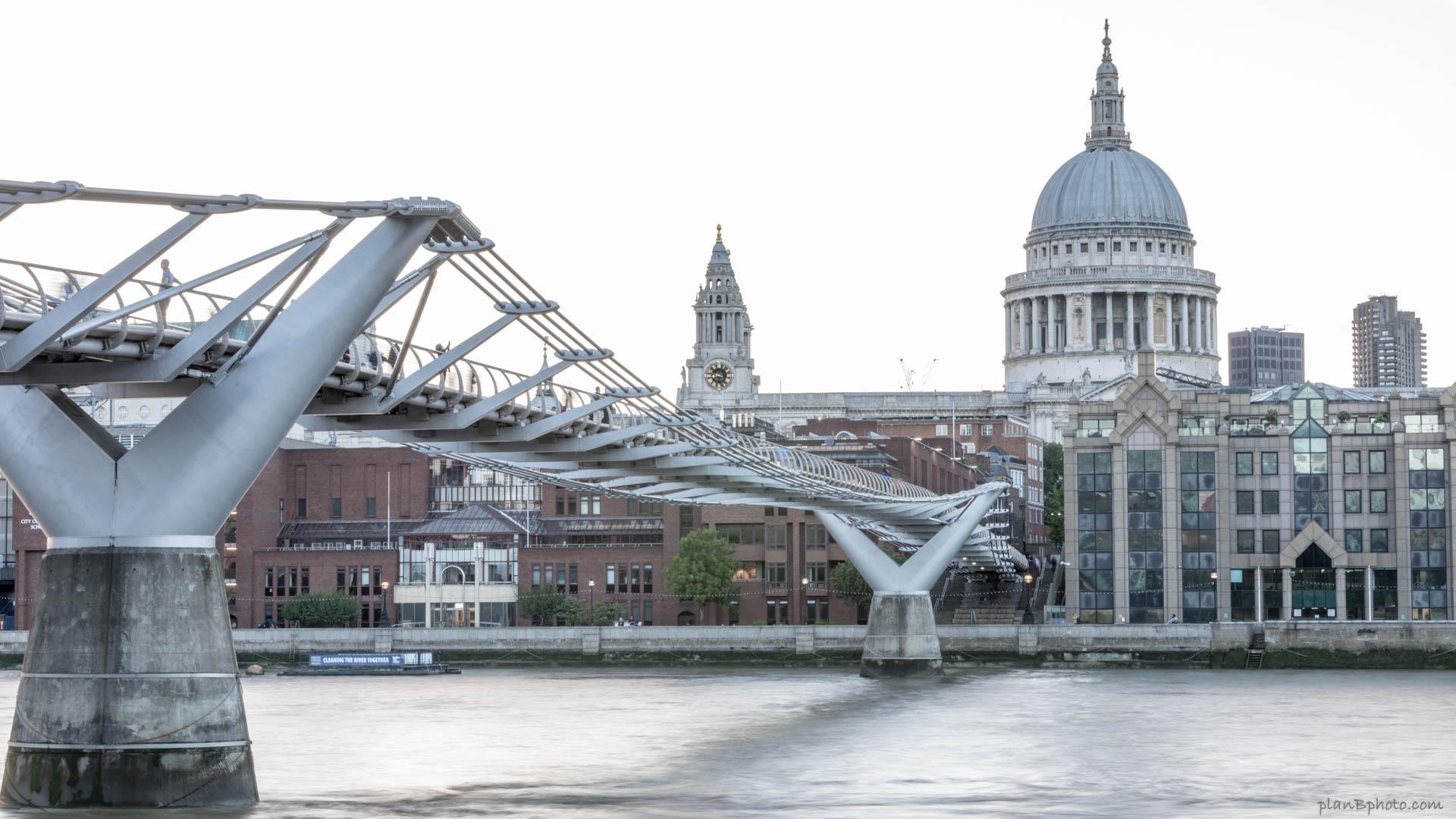 Millennium Bridge near St Pauls Cathedral in London