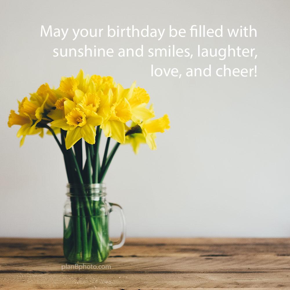 Yellow Narcissus Flowers birthday card